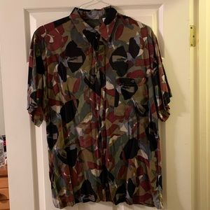 Vtg Printed button down